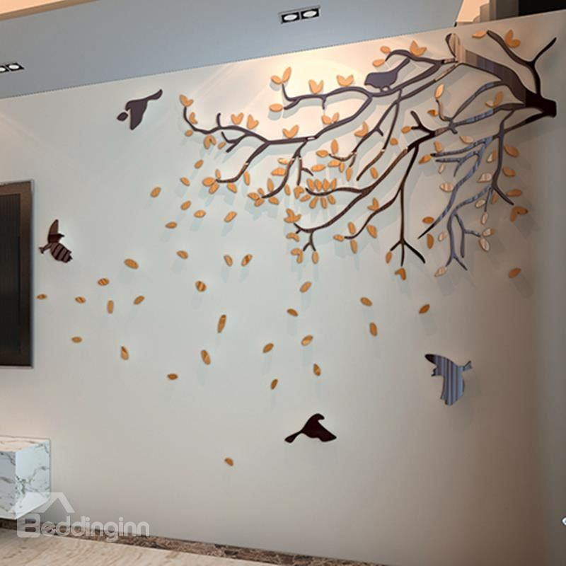 Amazing Acrylic Orange Tree Branches And Birds Design 3d Wall