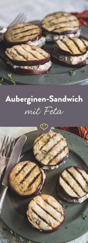 Auberginen Sandwich mit Oliven Feta Creme #abendessen #fitness #fitnessabendessen