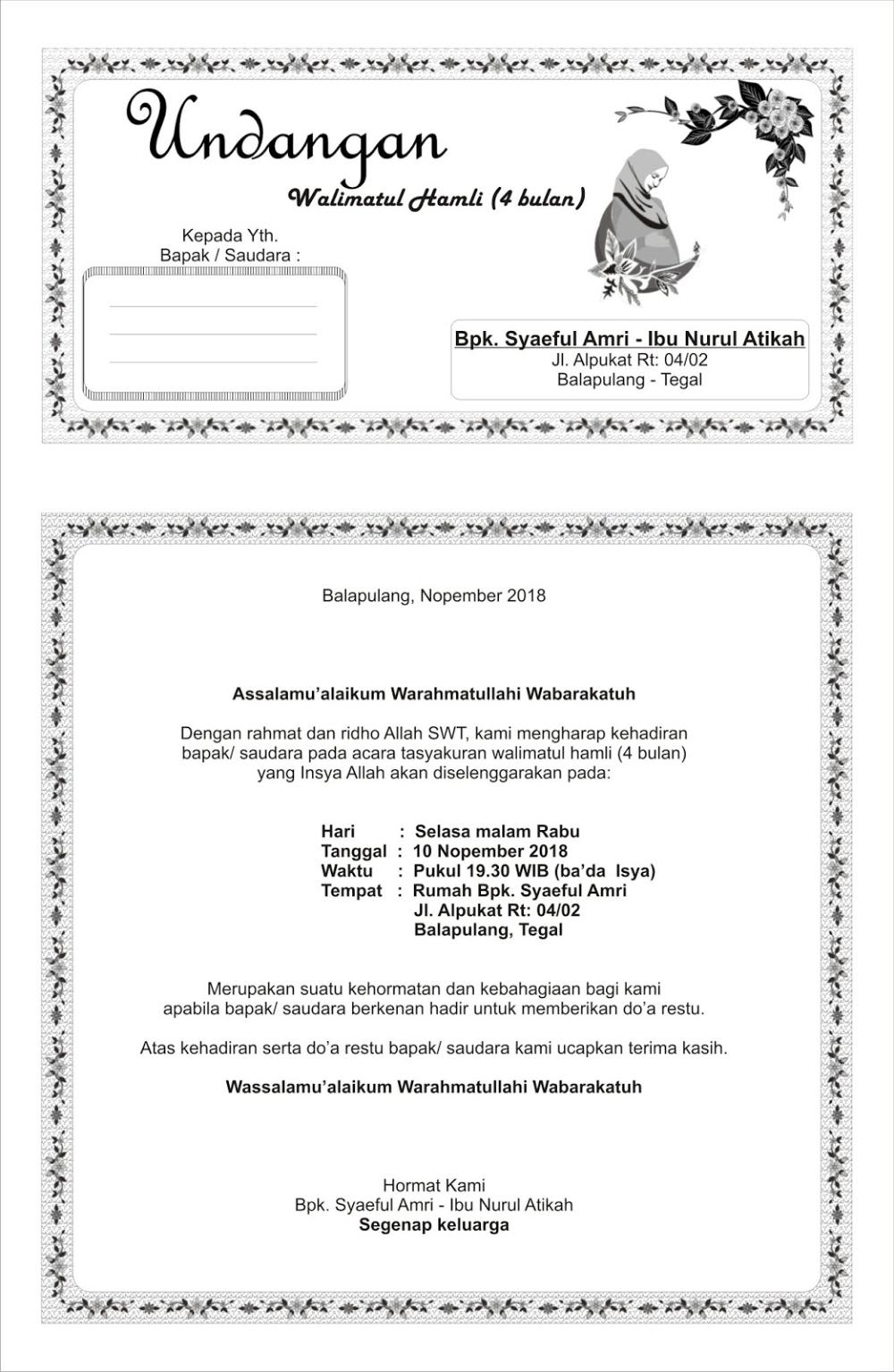 Contoh Undangan Walimatul Hamli : contoh, undangan, walimatul, hamli, Undangan, Walimatul, Hamli, Atikah, Undangan,, Kartu, Ucapan, Terima, Kasih, Pernikahan,, Contoh, Pernikahan