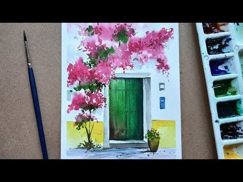 Watercolor Painting Of Beautiful Flower Tree And Simple Door
