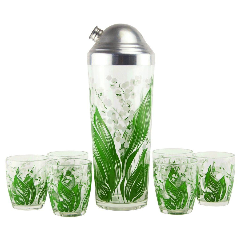 1930s Vintage Lily Of The Valley Cocktail Shaker Set The Hour Shop Cocktail Shaker Set Lily Of The Valley Glass Cocktail Shakers