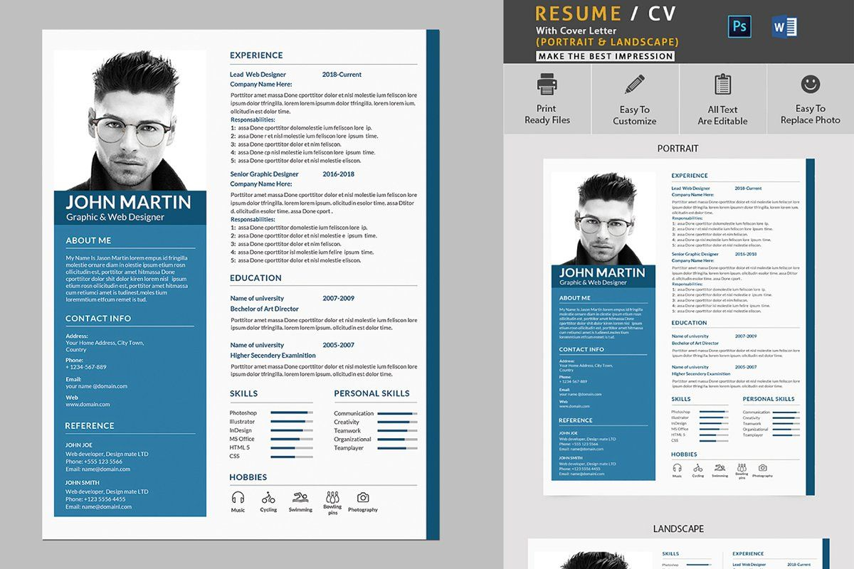 Ad Clean Resume Template by Mehrographix on