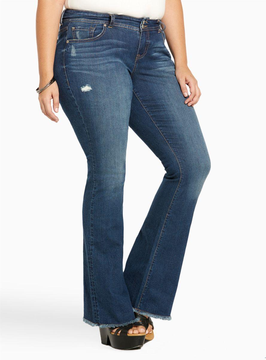 5f1e31ccb08e Flared Jeans - Medium Wash with Destruction