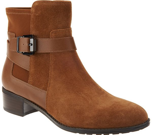top quality online Isaac Mizrahi Live! Suede Ankle Boots with Leather Straps 100% guaranteed cheap online H9tHFUPce