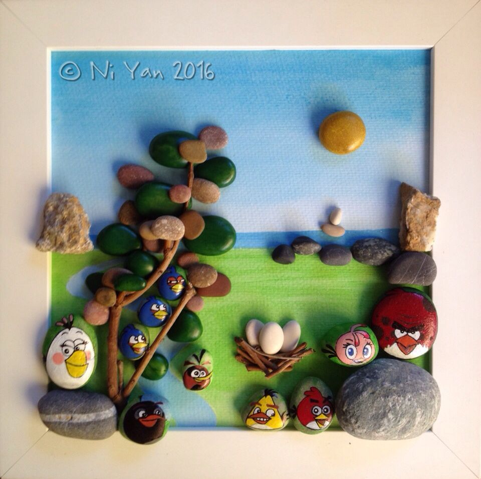 No longer angry birds ^_^, hand painted pebble art in frame, by Ni Yan, June 2016