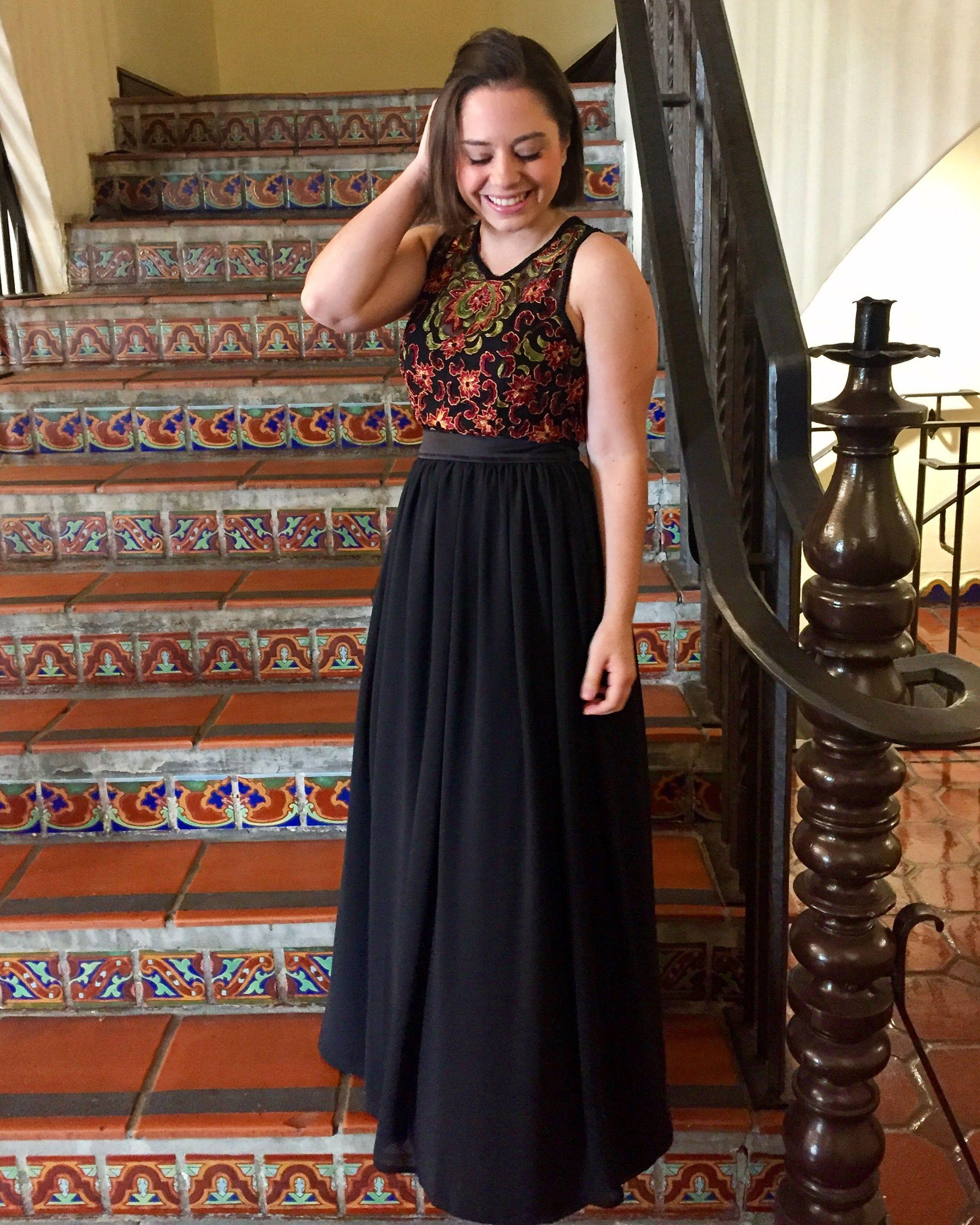 Embroidered Bodice Dress Black Tie Wedding Guest Dress Trish