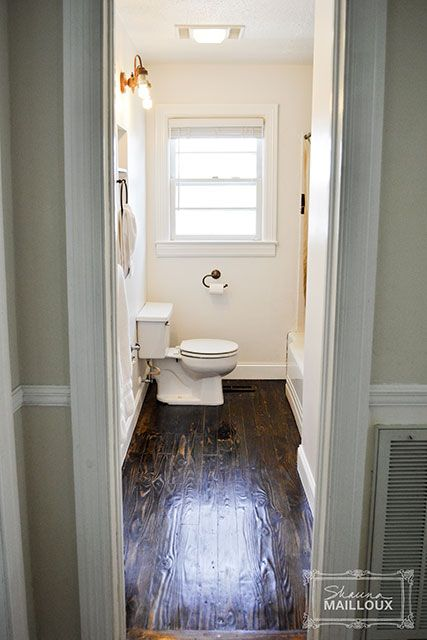 Refinished Wood Floors In Bathroom Sealed With Marine Varnish For Boats Waterproofing Love This Idea Were Pine Stained Dark