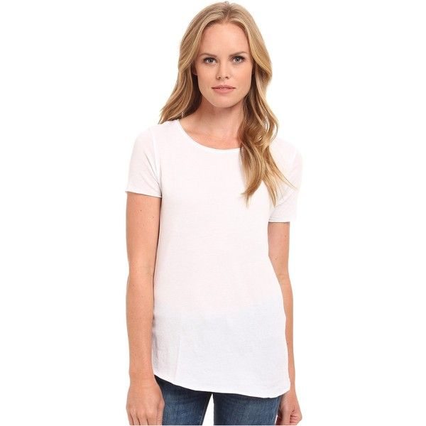 Three Dots Crew Neck Tee (White) ($31) ❤ liked on Polyvore featuring tops, t-shirts, white, crew-neck tee, white top, sweater pullover, three dot t shirts and white short sleeve t shirt
