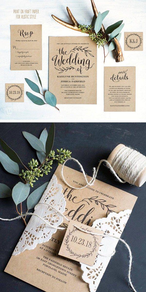 Top 10 Printable Wedding Invitations on Etsy Kraft