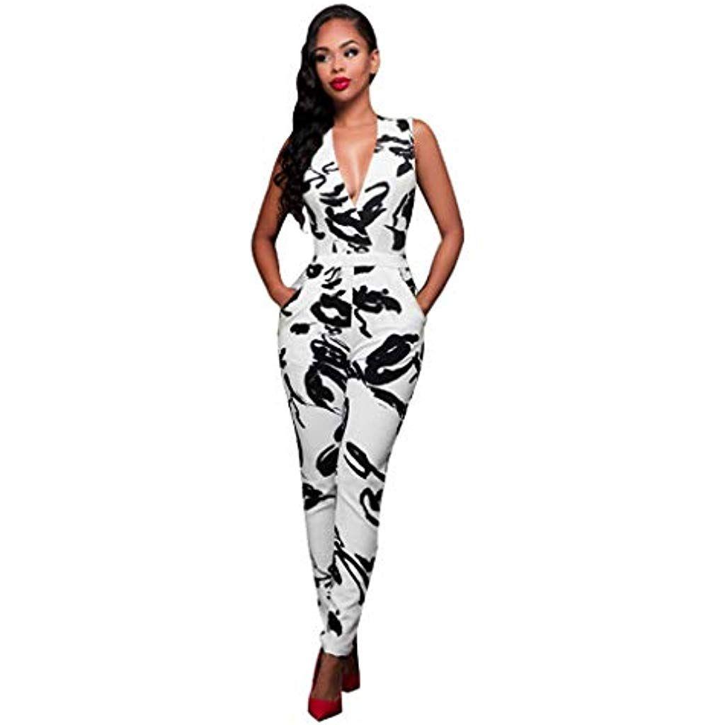c5ec63eaf6a605 ZZXIAN V-Ausschnitt Jumpsuits Damen Elegant Lang Sexy Overalls Sommer  Latzhose Frauen Bodysuit Eng äRmellos