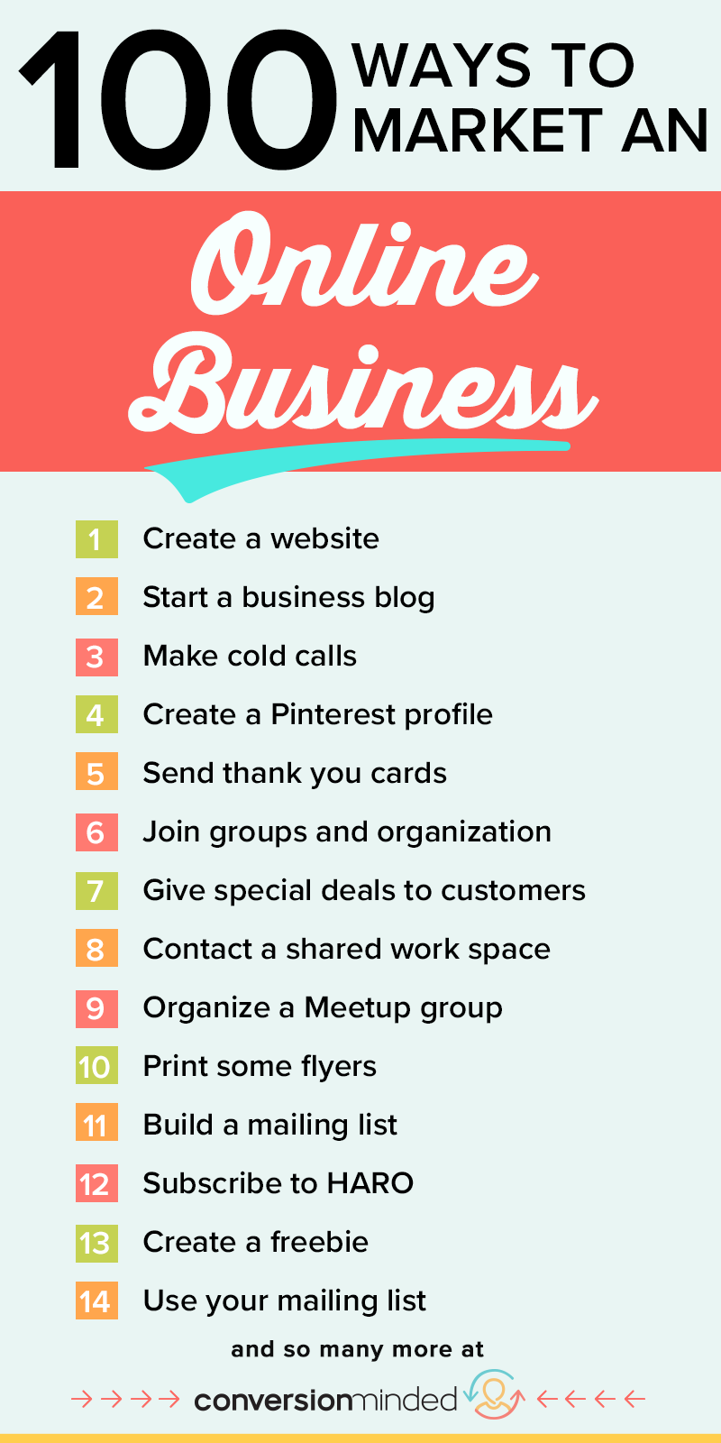 Unsure how to market your new online business Start with creating a website or blog and then check out these other 98 ways to gain the clients youve always wanted