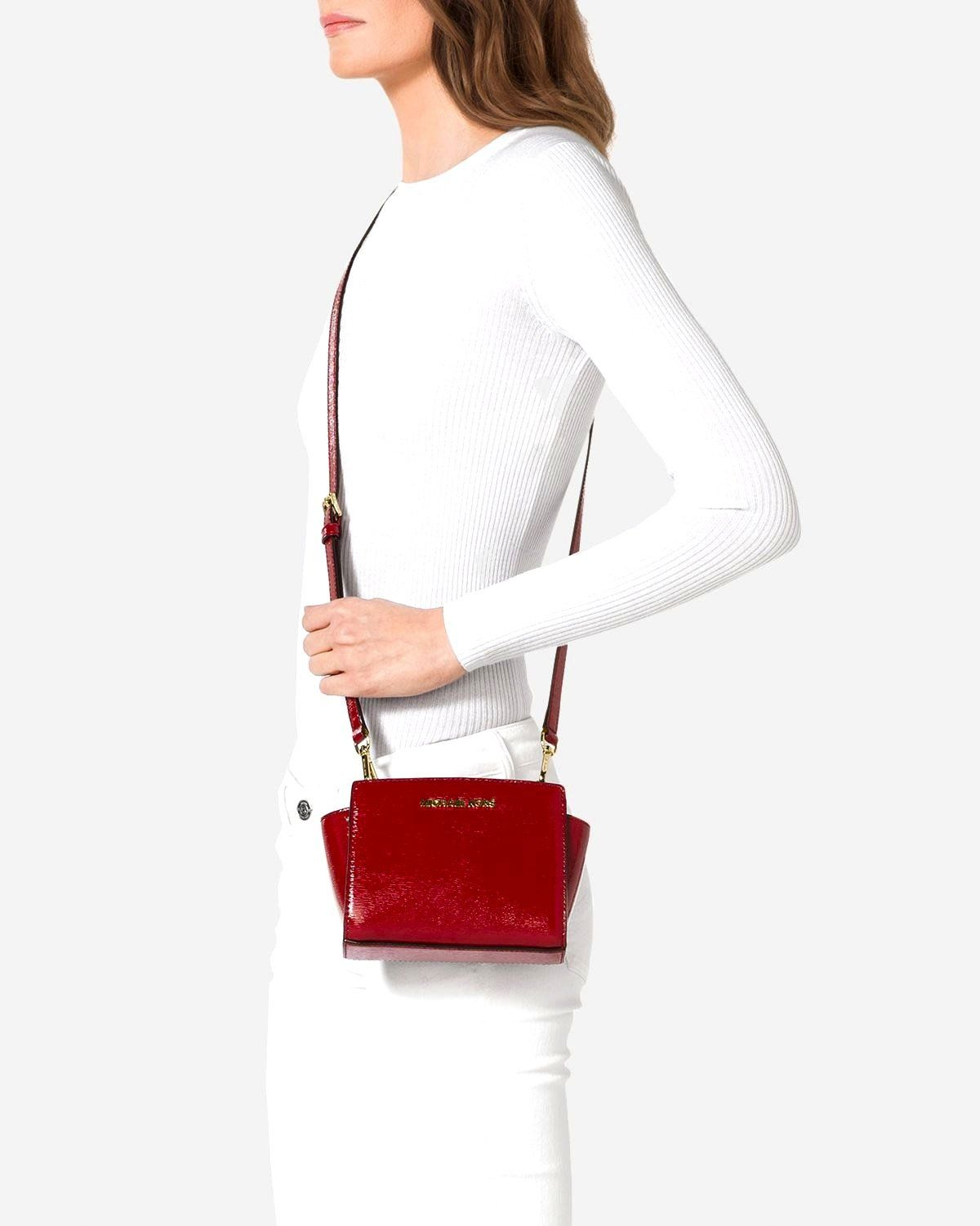 adf65f180e7c Michael Kors Mini Selma Crossbody Bark Patent Saffiano Leather Red ** Check  this awesome product by going to the link at the image.