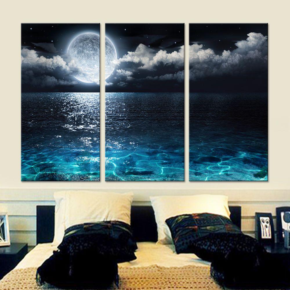 Unframed blue moon clear sea water modern canvas wall art picture