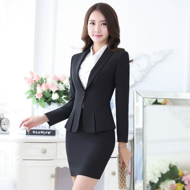 af9510818 Formal Black Blazer Women Business Suits with Skirt and Top Sets ...