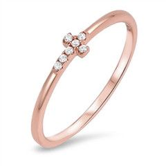 Sterling Silver Rose Gold Tone CZ Sideway Cross Ring Sz 4-10 105696123456 for only $6.99