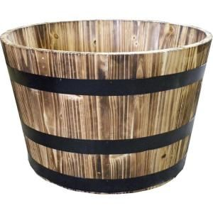 Null Real Wood 26 In Dia Cedar Half Whiskey Barrel Planter For