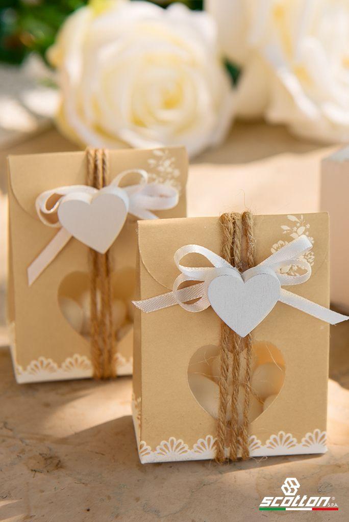 Bomboniere Matrimonio Rustiche.Idea Per Bomboniera Matrimonio Scatola Portaconfetti In Cartone