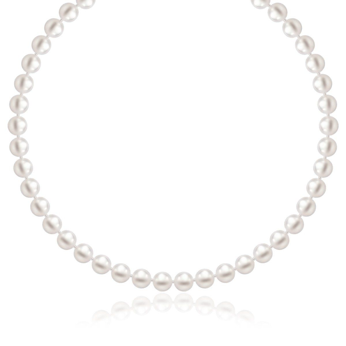 """14K White Gold Necklace with White Freshwater Cultured Pearls (6.0mm to 6.5mm). Showcasing a strand of white cultured freshwater pearls, this necklace radiates understated elegance. Truly a beautiful piece available in sizes 16"""", 18"""", and 20"""" and secured with a lovely 14K white gold clasp. $399.99 #hiMom"""