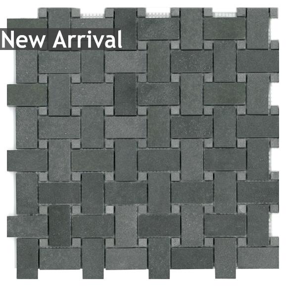 Basalt Basketweave With Dots Mosaic Mesh Mount Sheet Granite Tile