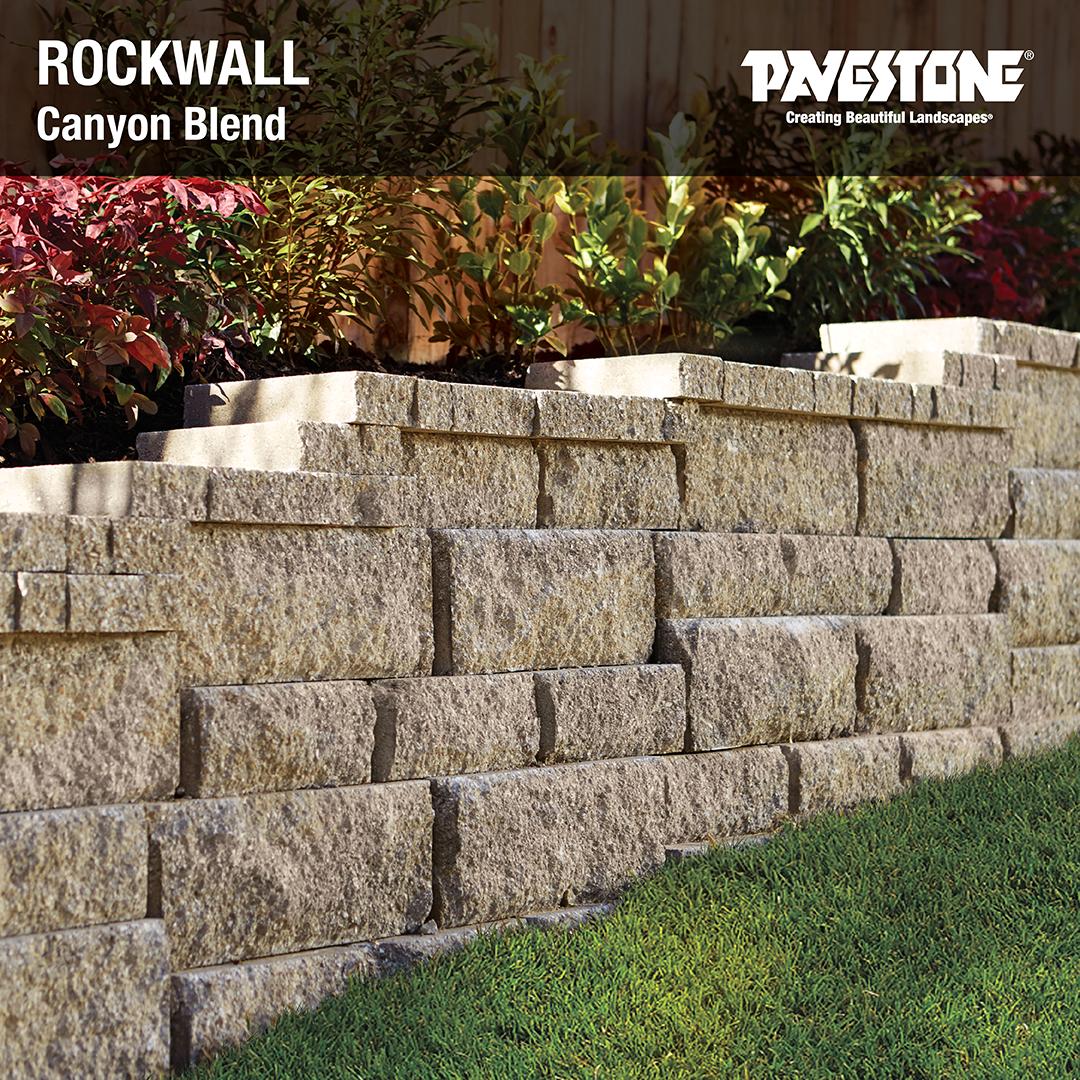 Pavestone S Rockwall In Canyon Blend Pavestoneco Rockwall Retainingwall Cany Backyard Retaining Walls Landscaping Retaining Walls Concrete Retaining Walls