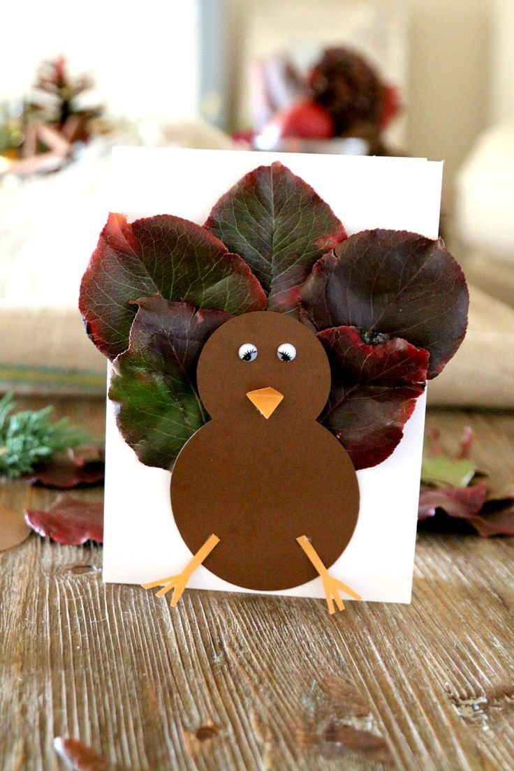 Fall leaf turkey craft for kids and cards place holder fall