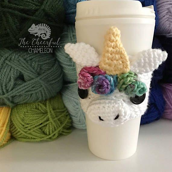 Unicorn Cozy Crochet Pattern Instant Download Horse | Coffee cozy ...