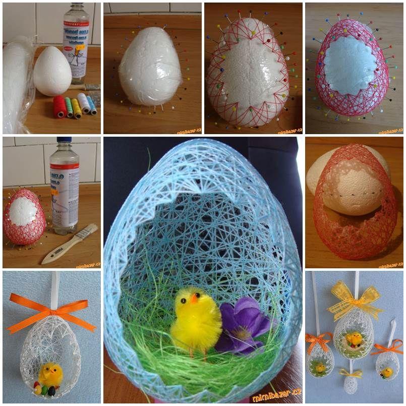Diy egg shaped easter string basket easter egg and shapes negle Image collections