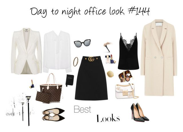 """""""Day to night office look #144"""" by modaelista ❤ liked on Polyvore featuring Gucci, Diane Von Furstenberg, Christian Louboutin, Jimmy Choo, Aspinal of London, MICHAEL Michael Kors, Harris Wharf London, Alexander McQueen, Estée Lauder and H&M"""