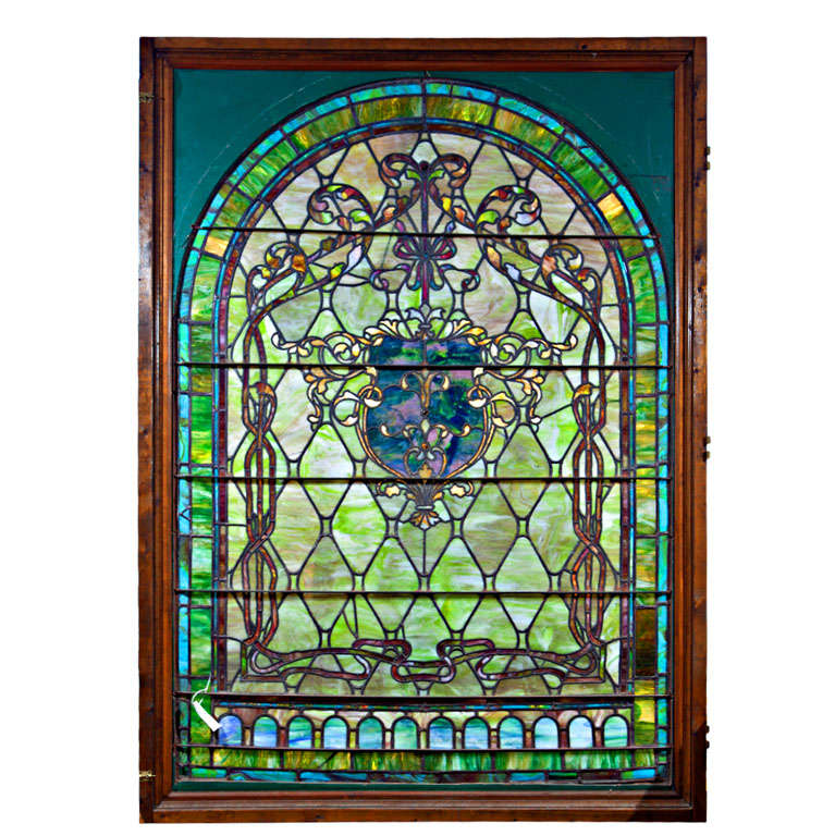 Large Antique Stain Gl Window From