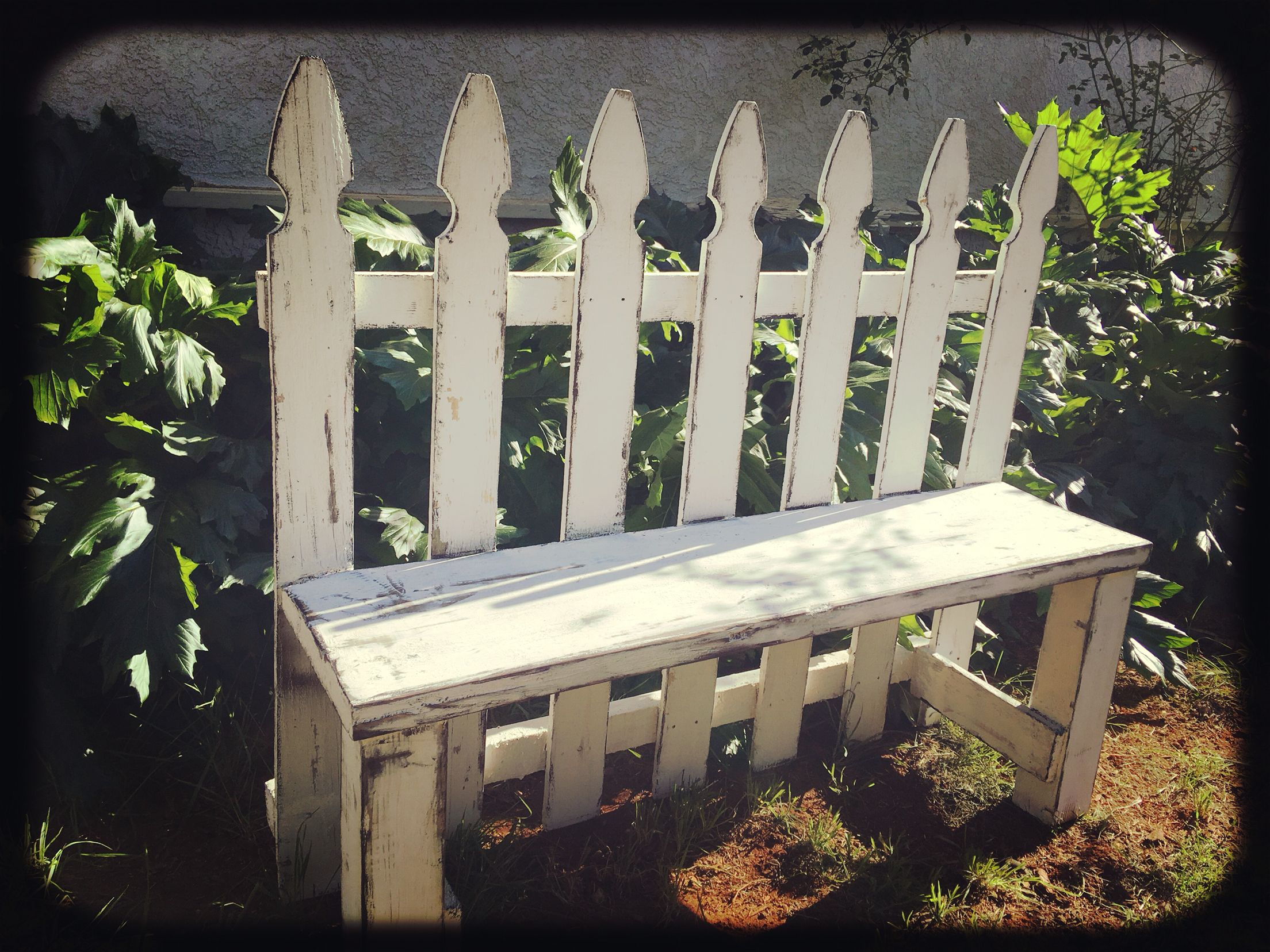 Gorgeous Upcycled Distressed White Picket Fence Garden Bench From Angry  Wood Design. Measuring 46 Long