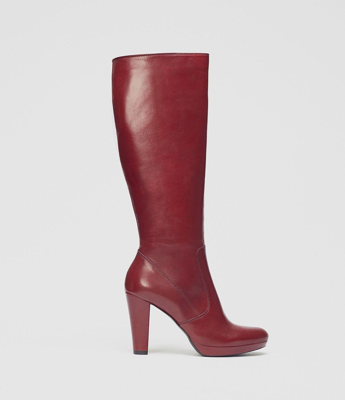 Bequemer Langschaftstiefel mit Plateau  poilei  boots  red  shoes Magassarkú d07815ac77