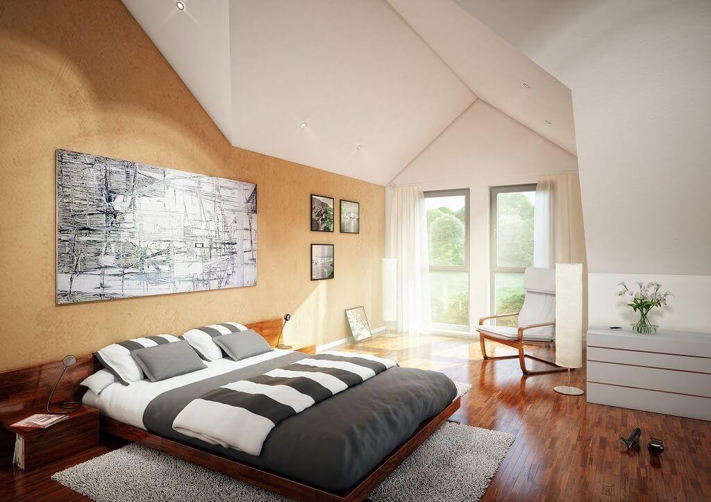 Schlafzimmer mit Dachschräge - Einrichtungsideen Haus Evolution - einrichtungsideen schlafzimmer mit dachschräge