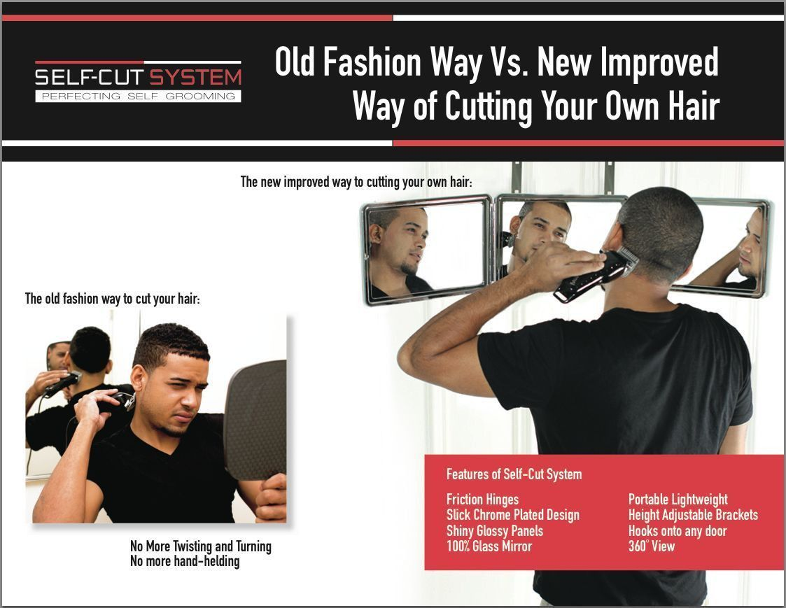 Self Cut System 3 Way Mirror for Self Grooming w/ Educational DVD
