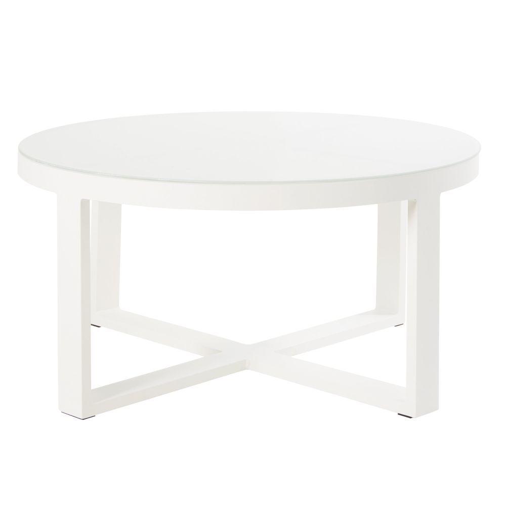 Table basse de jardin ronde en métal blanc et verre en 2019 ...