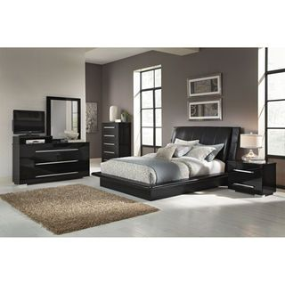 Gloss Glamour The Dimora Black King Bed Brings All The Class Of Italian Style Furnishings Home King Bedroom Sets Bedroom Sets Queen Upholstered Bedroom Set