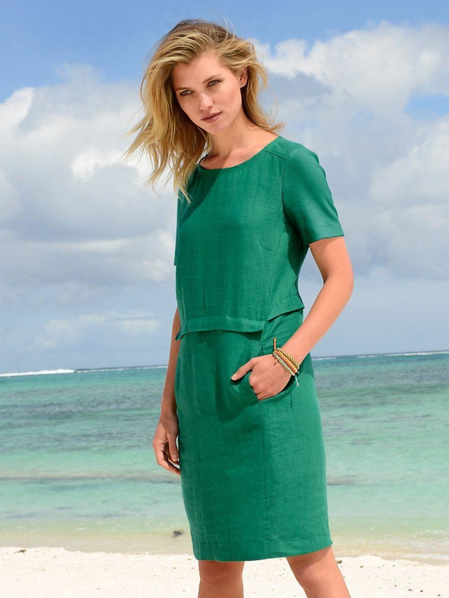 Riani Kleid Aus 100 Leinen Moosgrun Kleider Riani Kleid Lassiges Kleid