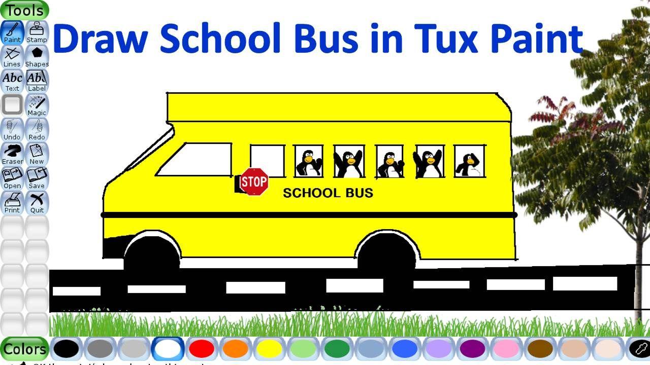 Draw A School Bus In Tux Paint Tux Paint Stamp Drawing Paint Line