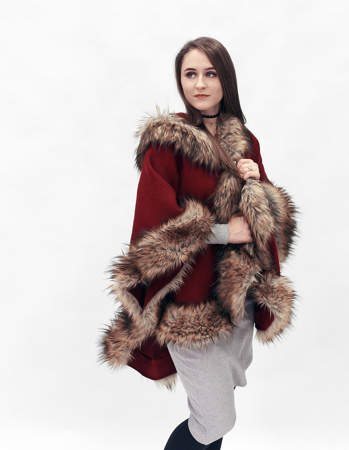 This Red And Brown Luxurious Soft Half Woolen Cloak Is