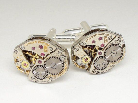 Steampunk Cufflinks Vintage Bulova watch by steampunknation