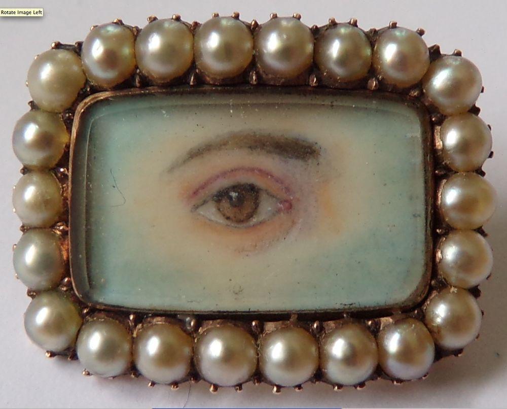 MINIATURE PORTRAIT-Georgian lover's eye-JA to MC-later added MA obit 11 Jan 1836