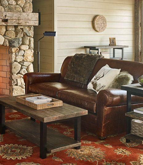 L Bean Leather Lodge Sofa