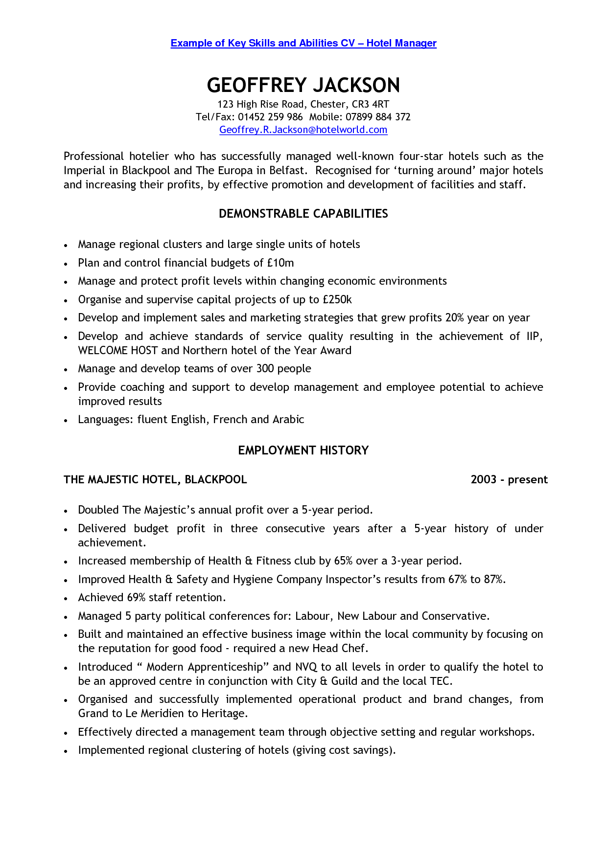 Resume Examples Key Skills examples resume