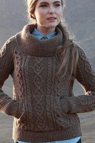 Carraig Donn Irish Aran Wool Sweater Womens Cable Knit Cowl Neck ...