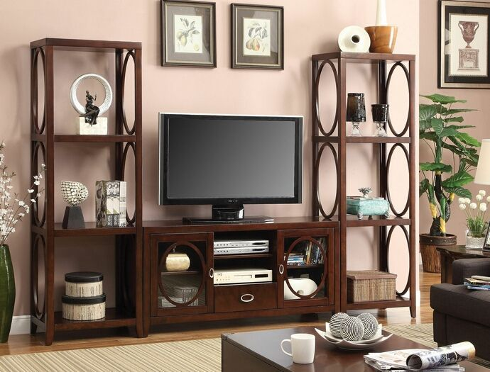 3 Pc Melville Contemporary Style Cherry Finish Wood Entertainment Center Wall Unit With Oval Accents