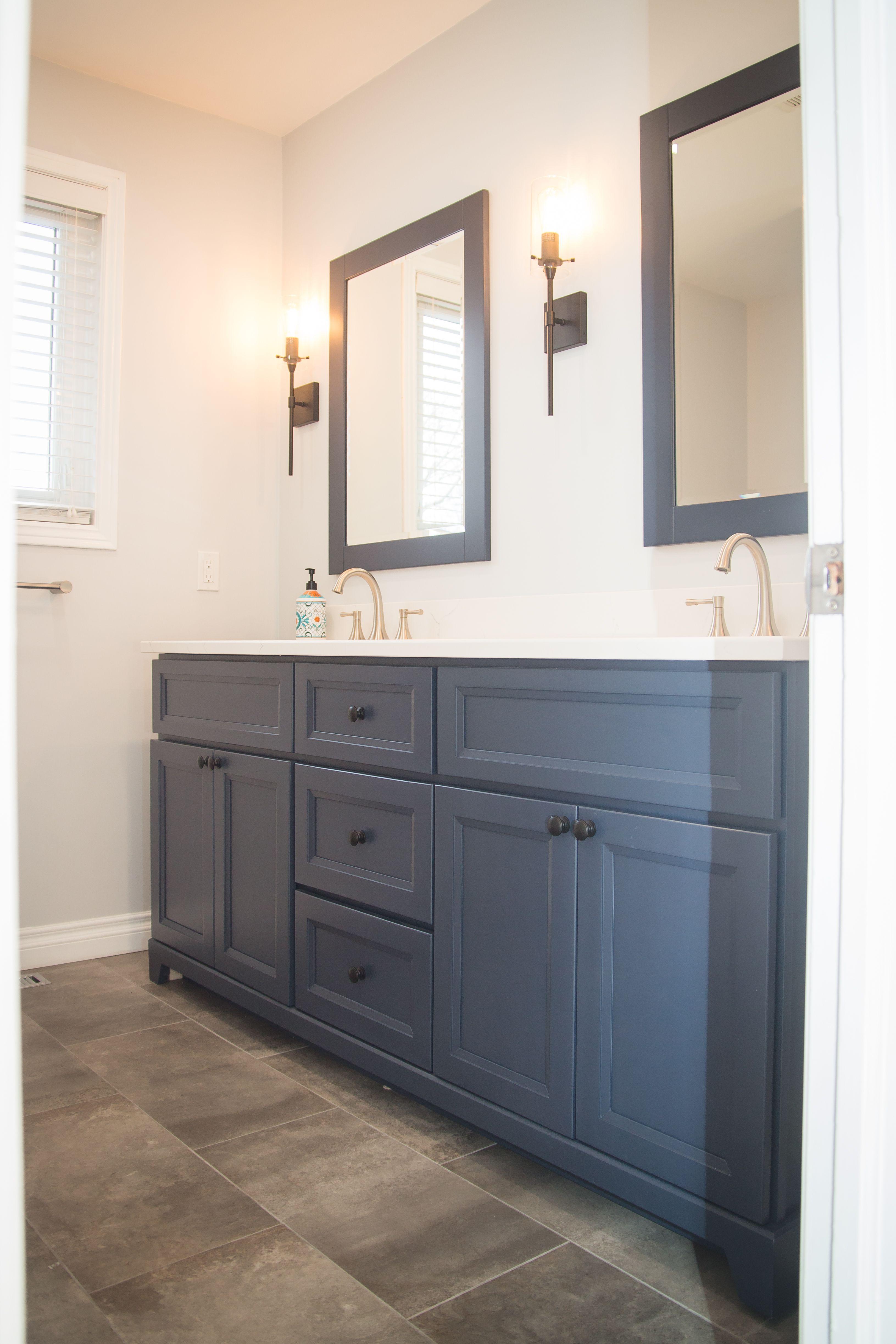 Bathroom Reno Navy Grey Stonewood Vanity With Quartz Too And Matching Mirrors Slate Tile Wayfair Sconces Grey Bathrooms Bathroom Slate Bathroom Tile