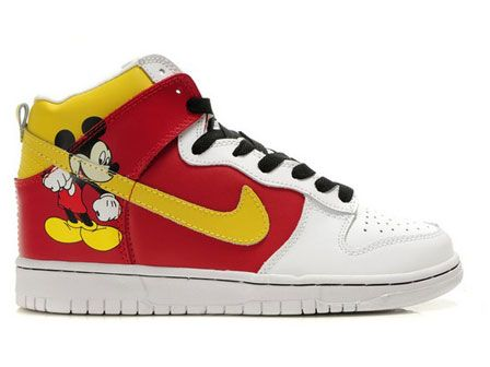 High Tops Cartoon Dunks: Disney Custom Dunks Mickey Mouse Nike Shoes For Kids  Red Yellow nike dunk mickey mouse