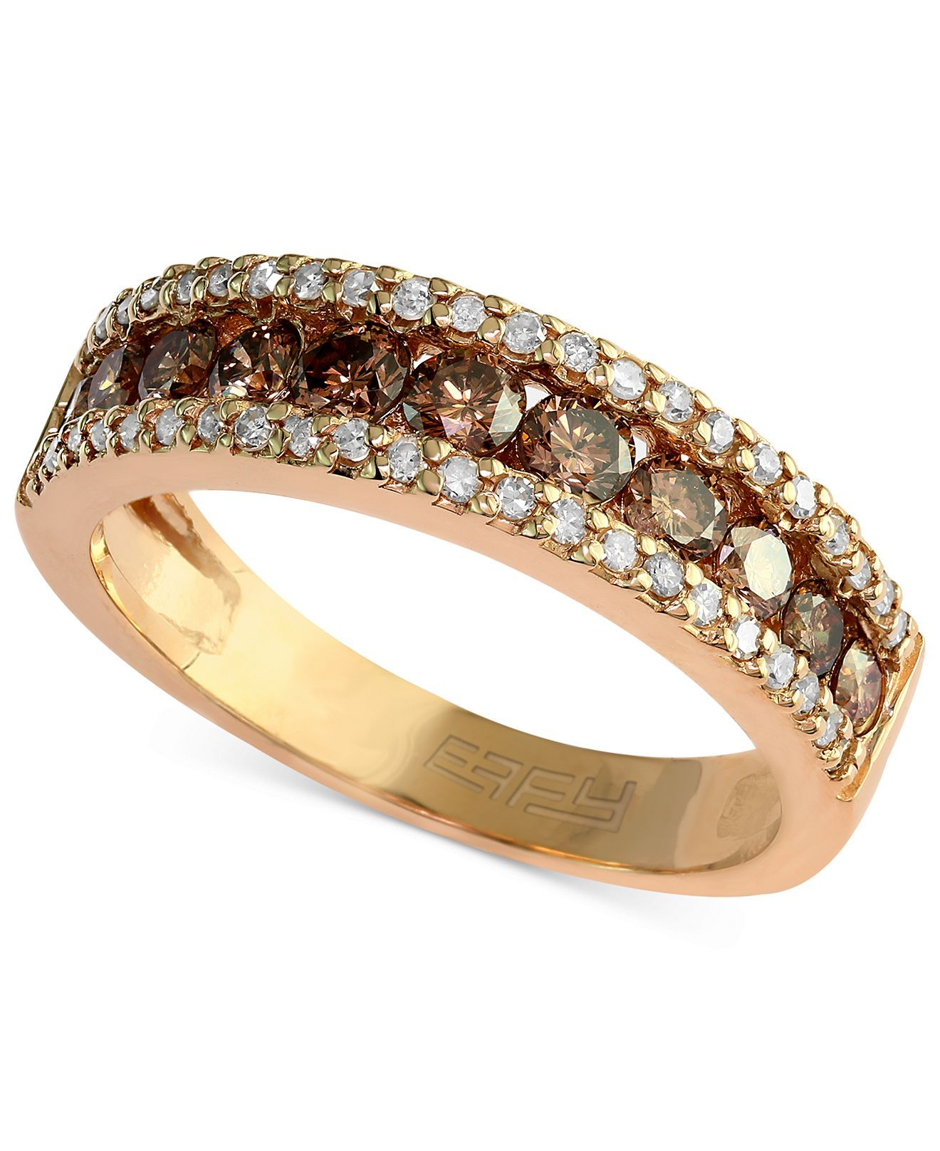 Espresso by EFFY Brown and White Diamond Three-Row Ring (7/8 ct. t.w.) in 14k Gold - Effy - Jewelry & Watches - Macy's
