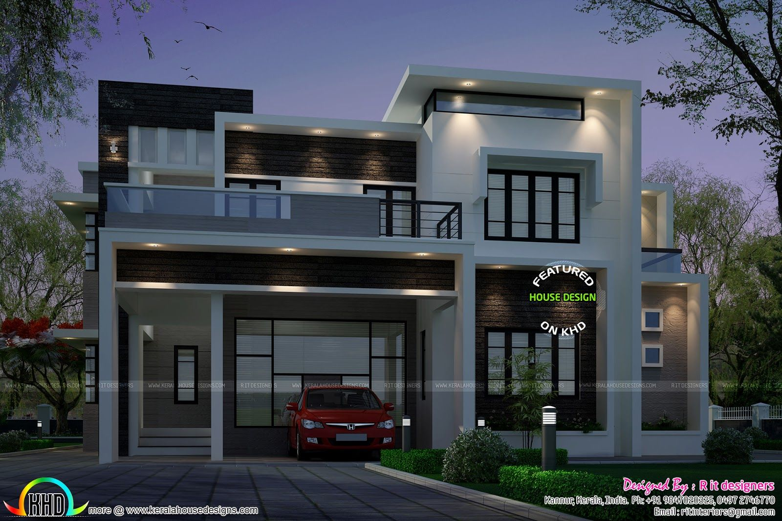 2883 sq-ft Contemporary style house | Contemporary style, Square ...