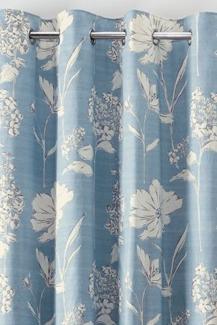 Buy Powder Blue Country Floral Print Eyelet Curtains From The Next UK  Online Shop  Blue Floral Curtains