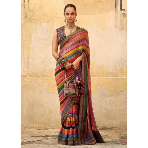 Photo of Multicolor strip chinon silk designer wedding saree